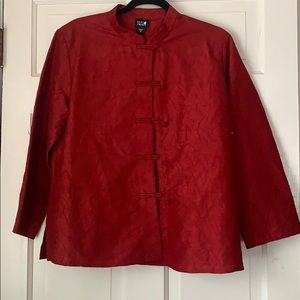 Eileen Fisher Red Crepe Asian Knot Blouse Top M